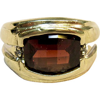 Men's Garnet Statement Ring in 10K Yellow Gold