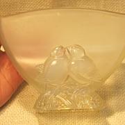 Art Deco Verly's Opalescent Love Birds Art Glass Planter