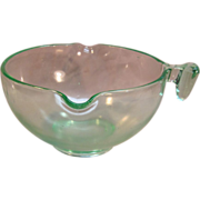 Lovely Green Depression/Uranium Glass Batter Mixing Bowl Circa 1930's