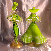 Vintage Murano Glass Costumed Man and Woman