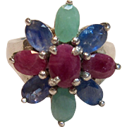 Dazzling Multi Gemstone Floral Ring in Sterling Silver