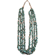 Native American Multi Strand Spider Web Turquoise Necklace by Navajo Picurio