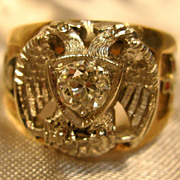 10K Yellow Gold Scottish Rite 32nd Degree Masonic Diamond Ring