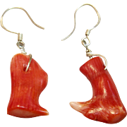 Naturally Beautiful Red Coral Branch Dangle Earrings