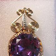Vintage 18K Synthetic Sapphire Pendant