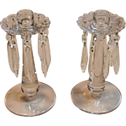 Stunning Set of Two Candle Holders with Hanging Crystals