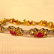 Fabulous 14K Yellow Gold Natural Ruby Bracelet