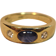 Impressive Natural Sapphire with Diamonds Ring in 18K Yellow Gold