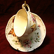 Vintage Zsolnay Butterfly Tea Cup & Saucer