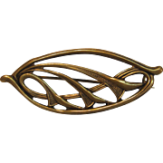Lovely Art Nouveau Brass Pin with C-clasp
