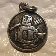 Sterling Silver Aquarius Zodiac Coin Charm
