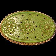 Vintage & Rare Green Bakelite Floral Pin