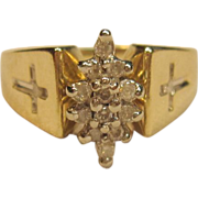 Fabulous Cluster Diamond Ring with Cross Accent in 10K Yellow Gold