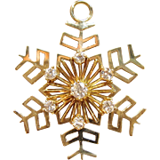 Timeless Diamond Snowflake Pendant in 14K Yellow Gold