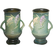"""PAIR Roseville Freesia 9"""" Vases, Pristine"""