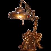 Art Nouveau Figural Desk Lamp w Ink Well Letter Rack