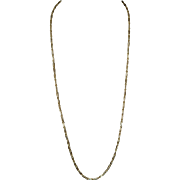 "Vintage 14K Solid Gold Fancy Lozenges 24"" Long Chain"