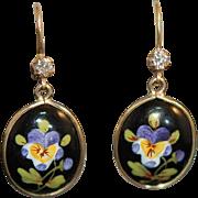 Art Nouveau 14K Enamel Dia Pansy Earrings