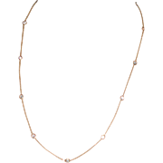 """Vintage 14K Yell Gold Chain w """"Diamonette"""" Stations"""
