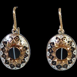 Georgian 12ct Enamel Band Agate Memorial Earrings EX Cond