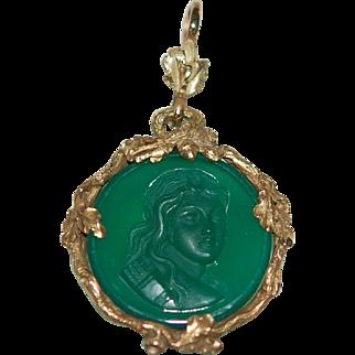 -50%: Victorian Emerald Glass Intaglio 15-18ct Frame: Acorn, Snake, Oak Leaf, Ex Cond