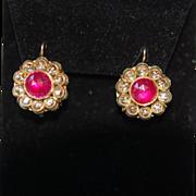 Late Georgian Early Victorian 14K Rose Cut Nat'l Ruby & Rose Cut Dia Earrings Enamel Reverse