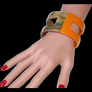 -50%:Buffalo Horn & Enamel Cuff Bracelet:  Herm. Designer Look
