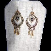 Fabulous Victorian 14K Fringe Taille d' Espergne Earrings w Shepherd's Hook