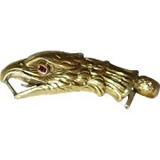 Georgian Large Detailed 18ct Eagle Clasp w Burmese Ruby, EX