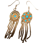 c1840 French Cannetille 15ct Persian Turquoise Tassel Earrings