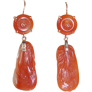 Carved Red Jade (Jadeite) 14Kt Earrings