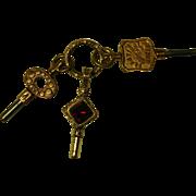 Georgian Embossed Split Ring w 3 Watch Keys