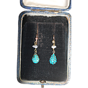 Victorian 9ct Gold Turquoise Cabochon Earrings
