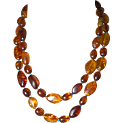 Baltic Amber Strung on Turquoise Silk Thread ~42""