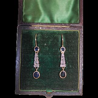 Art Nouveau 18ct Mined Sapphire Diamond Earrings
