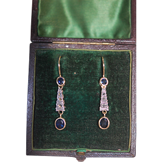 Art Nouveau 18ct Mined Sapphire & Rose Cut Diamond Earrings, Pristine