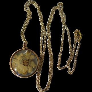 "Lg Convex Glass Edeleiss Pendant Necklace 34"" c1920"