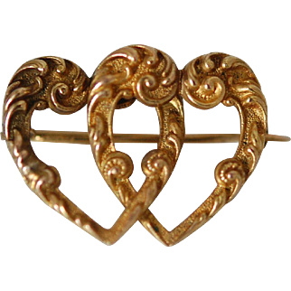 "Victorian Ornate 14K Double Lover's Heart ""C"" Clasp Pin"