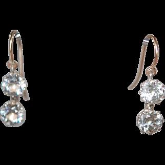 Georgian 2 Stone Sparkly Paste Earrings w 14K Wires
