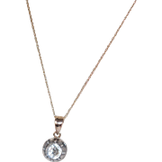 "Georgian Gold Back Rose Cut Paste Solitare 18"" Gold Necklace"