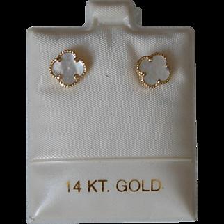 14K MOP Bead Edge Clover Earrings Sweet, Designer Look, Vintage