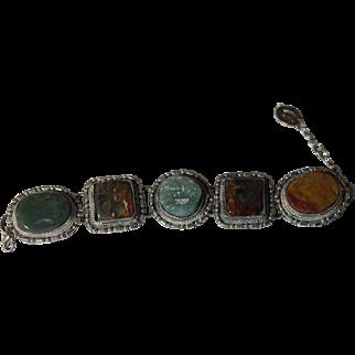 Vintage Jade Silver Bracelet