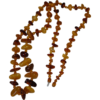 """Baltic Butter scotch  Amber Necklace 38"""" Screw Clasp"""
