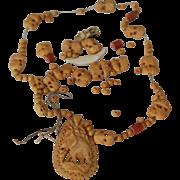 Handcarved Bone Elephant Necklace, Broken