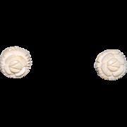 14K Carved Angel Coral Earrings