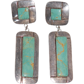 Lg Turquoise Sterling Earrings, Ex Cond