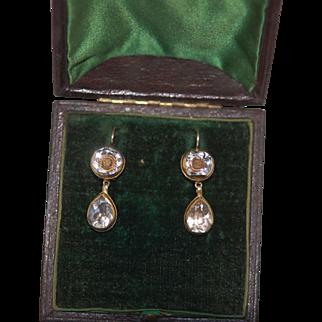 V. Rare Georgian c1720 Stuart Crystal Day Night Earrings not converted