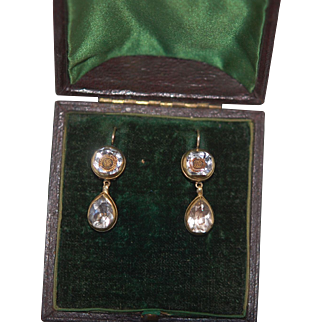 Rare Authenic Georgian Stuart Crystal Earrings High Carat Gold