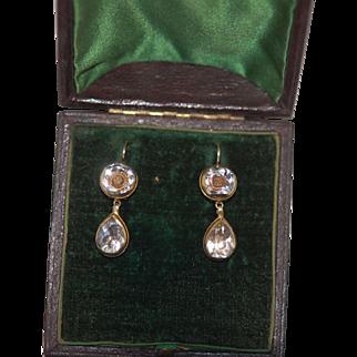 Rare c1720 Stuart Crystal Day Night Georgian Earrings, originally earrings not converted