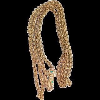 Georgian 15ct Hand Clasp & Gilded Belcher Chain
